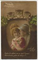 Miaou Contre Le Cafard , L' Amour Chats Regardant Amoureux Guerre 1914 WWI - Gatos