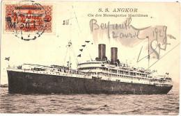 S.S. ANGKOR  MESSAGERIES MARITIMES POSTEE DE BEYROUTH LIBAN 1929 - Paquebots