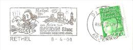CACHET OBLITERATION FLAMME EMA RETHEL MAZARIN FOIRE BOUDIN BLANC  ENVELOPPE 22X11 - Marcophilie (Lettres)