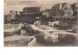 C P A---64---BIARRITZ---PITTORESQUE---port Des Pecheurs,hotel D´angleterre Et église Ste-eugénie-----voir 2 Scans - Biarritz
