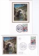 2 Documents Philatéliques Gorges De L'Ardèche, Vallon-Pont -d'Arc, 1971 - Holidays & Tourism