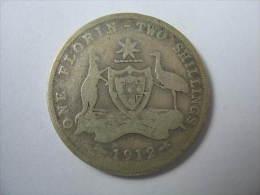 AUSTRALIA 1 FLORIN TWO SHILLING 0.925  SILVER KGV 1912 KM 27 - Australie