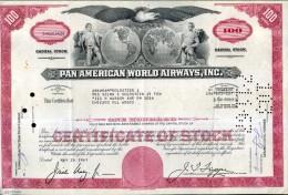 X CERTIFICATO AZIONARIO PAN AMERICAN WORLD AIRWAYS INC 1967 100 SHARES STOCK - Aviazione