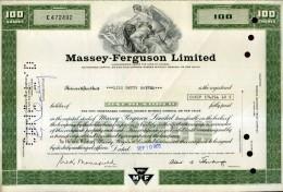 X CERTIFICATO AZIONARIO MASSEY FERGUSON LIMITED 1973 100 SHARES STOCK - Industrie