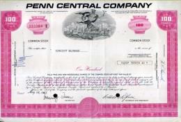 X CERTIFICATO AZIONARIO PENN CENTRAL COMPANY 1975  100 SHARES STOCK - Ferrocarril & Tranvías