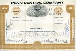 X CERTIFICATO AZIONARIO PENN CENTRAL COMPANY 1970  LESS 100 SHARES STOCK - Ferrovie & Tranvie