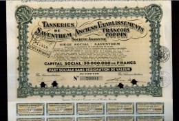 X CERTIFICATO AZIONARIO ANCIENS ETABLISSEMENTS FRANCOIS COPPIN SA CON CEDOLE STOCK - Chemin De Fer & Tramway