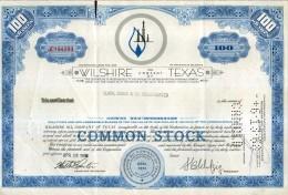 X CERTIFICATO AZIONARIO WILSHIRE OIL COMPANY OF TEXAS 1968 100 SHARES STOCK - Automobilismo