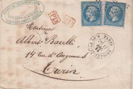 Y&T 22 X 2 Obl Etoile 23 + TàD PARIS R DU Fbg  ST ANTOINE Du 17 DEC 63 Sur LAC Adressée à TURIN - 1849-1876: Classic Period