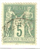 FRANCIA TIPO SAGE TIPO II Yv. 75 VERT JAUNE USADO - 1876-1898 Sage (Type II)