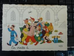 Albert Dubout Cpa  Dédicacé Signature Autographe  Dessin EN VISITE A ...1957 EDITION DU MOULIN - Humour
