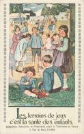"""ENFANTS - Jolie Carte Fantaisie Enfants """"Les Terrains De Jeux , C'est La Santé Des Enfants"""" - Fillette Jouant Au Croquet - Children's Drawings"""