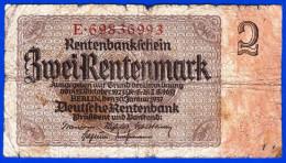 BILLET MONNAIE TRES USAGE ALLEMAGNE DEUTCHLAND GERMANIE DEUTSCHE RENTENBANK 2 ZWEI RENTENMARK BERLIN 30 JANVIER 1937 - Altri