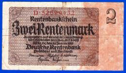 BILLET MONNAIE USAGE ALLEMAGNE DEUTCHLAND GERMANIE RENTENBANK ZWEI RENTENMARK BERLIN 30 JANVIER 1937 N°D. 52699432 - [ 4] 1933-1945 : Troisième Reich