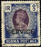 "BRITISH BURMA  1 RUPEE BLUE KGVI HEAD O/P ""SERVICE""  FRESH USED  1940's SG24 READ DESCRIPTION !! - Burma (...-1947)"