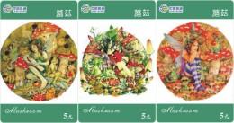 M06193 China Phone Cards Mushroom 3pcs - Fleurs
