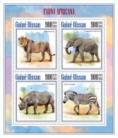 gb13701a Guinea Bissau 2013 African fauna Lion Elephnat Rhinoceros Zebra s/s