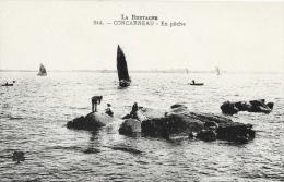 Concarneau - En Pêche Sur Les Rochers - Carte Non Circulée - Concarneau