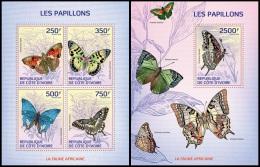 ic14104ab Ivory Coast 2014 Butterflies 2 s/s