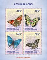 ic14104a Ivory Coast 2014 Butterflies s/s