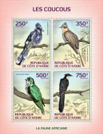 ic14105a Ivory Coast 2014 Birds Cuckoos s/s