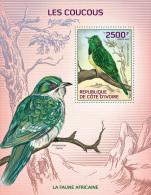 ic14105b Ivory Coast 2014 Birds Cuckoos s/s