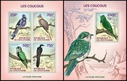 ic14105ab Ivory Coast 2014 Birds Cuckoos 2 s/s