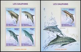 ic14107ab Ivory Coast 2014 Dolphins 2 s/s