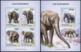 ic14108ab Ivory Coast 2014 Elephants 2 s/s
