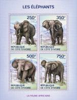 ic14108a Ivory Coast 2014 Elephants s/s