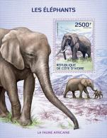 ic14108b Ivory Coast 2014 Elephants s/s