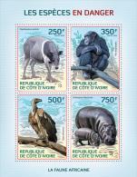 ic14109a Ivory Coast 2014 Endangered species Monkey Bird Hippopo s/s