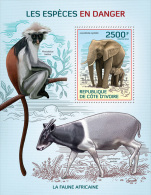 ic14109b Ivory Coast 2014 Endangered species Monkey Deer Elephant s/s