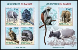 ic14109ab Ivory Coast 2014 Endangered species Monkey Deer Elephant Hippop 2 s/s