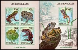 ic14111ab Ivory Coast 2014 Frogs 2 s/s