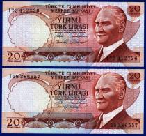2 BILLETS MONNAIE NEUFS TÜRKIYE CUMHURIYET MERKEZ BANKASI 20 YIRMI TÜRK LIRASI N°l73 412736 ET L58 386557 - 14 OCAK 1970 - Turchia