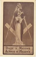 Masonry Mason Organization, Romance, 'Once A Masons Always A Masons' C1900s/10s Vintage Postcard - Philosophy