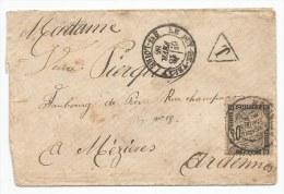 - Lettre - BOUCHES DU RHONE - MARSEILLE - PC.1896 S/TPND N°14 Ad + Càd T.15 + Cachet Rouge - 1856 VOIR - 1853-1860 Napoleon III