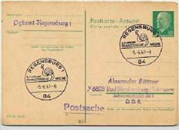 HAHN FRANZÖSISCHE WOCHE REGENSBURG 1967 Auf DDR Antwort-Postkarte P 77A - Gallináceos & Faisanes