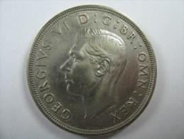 UK GREAT BRITAIN   CROWN 1937 0.500 SILVER KM 857 28.24 GRAMS KING GEORGE VI - Grande-Bretagne