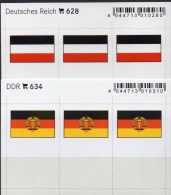 2x3 In Farbe Flaggen-Sticker Deutschland DR+DDR 4€ Kennzeichnung Alben Buch Sammlung LINDNER 628+634 Flags Germany Reich - Alte Papiere