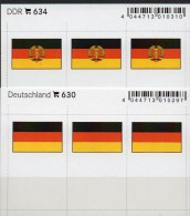 2x3 In Farbe Flaggen-Sticker Deutschland BRD+DDR 4€ Kennzeichnung Alben Buch Sammlung LINDNER # 630+634 Flags Of Germany - Documentos Antiguos