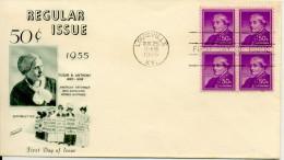 """Etats-Unis FDC 1955 """" Susan B. Anthony , Droits De La Femme""""  Bloc-4 Yvert 604 - Donne Celebri"""