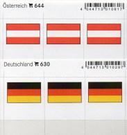 2x3 In Farbe Flaggen-Sticker Österreich+BRD 4€ Kennzeichnung Alben Buch Sammlung LINDNER 630+644 Flag Of Germany Austria - Vieux Papiers