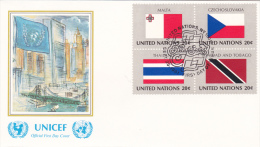 United Nations FDC:  1981 Malta, Czechoslovensko, Thailand And Trinidad And Tob- Printed Together In Block Of 4 (G35-55) - Briefe
