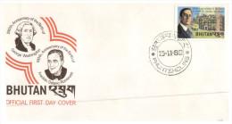 (PH 318) Bouthan FDC Cover - 1982 - Roosevelt & Washington Birth - Bhoutan
