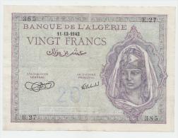 Algeria 20 Francs 1942 VF++ CRISP Banknote P 92a 92 A - Algeria