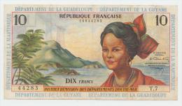 French Antilles Guyana Guadaloupe 10 Francs 1964 VF+ P 8b - Guyana Francese