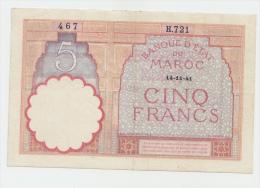 Morocco 5 Francs 14-11-1941 VF++ Crisp Banknote P 23Ab 23A B - Marocco