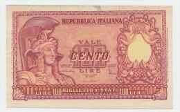 "ITALY 100 Lire 1951 ""F+"" P 92b 92 B - [ 2] 1946-… : Républic"